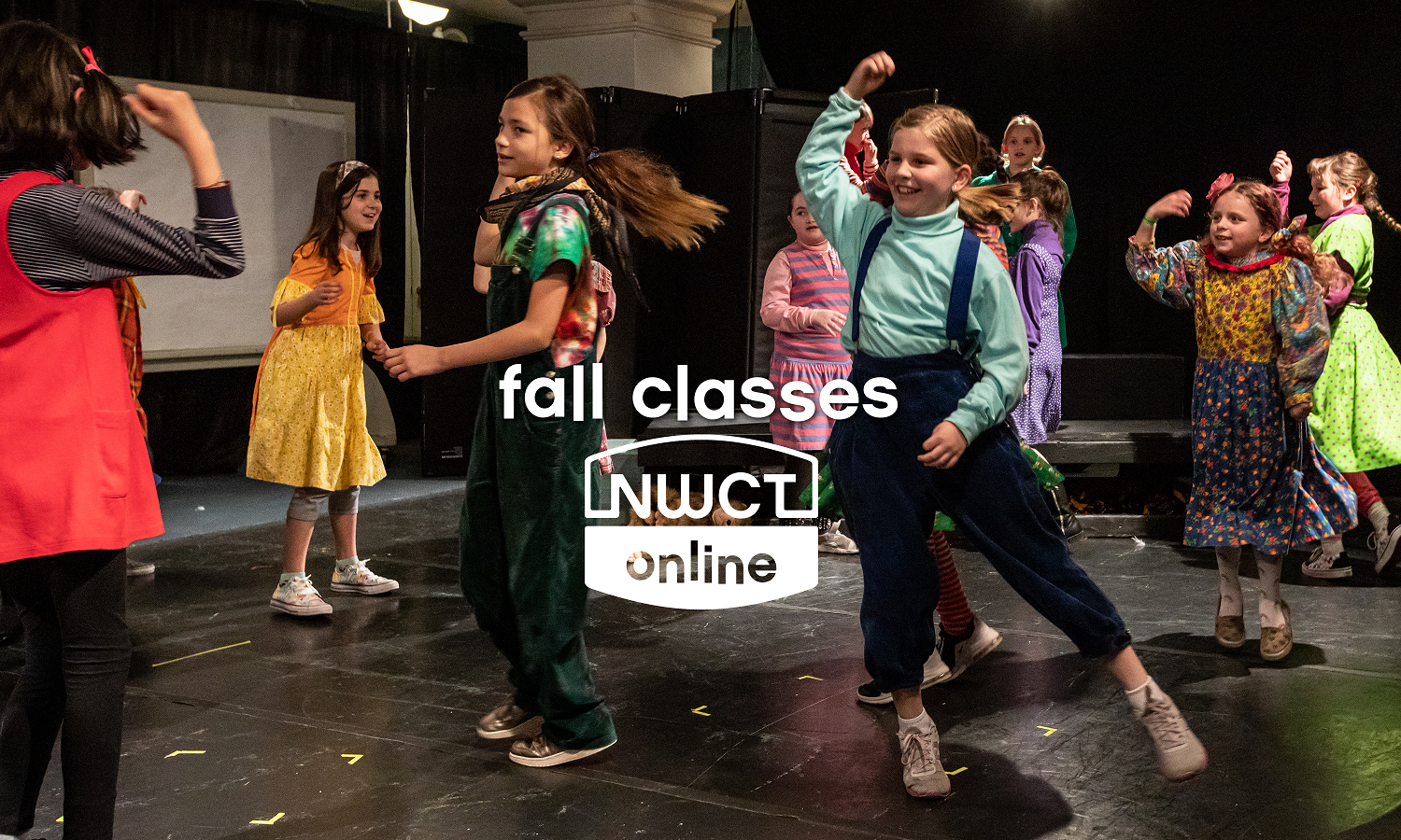 Kids in a play. Text: Fall classes. Logo: NWCT Online